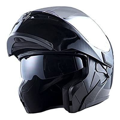 1Storm Motorcycle Modular Full Face Helmet Flip up Dual Visor Sun Shield: HB89 Glossy Black
