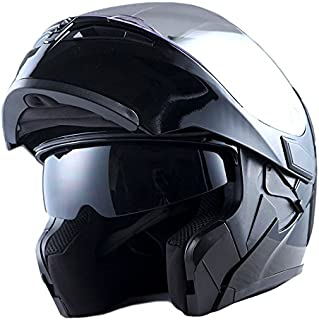 1Storm Adult Motorcycle Modular Full Face Helmet Flip up Dual Visor Sun Shield: HB89 Glossy Black
