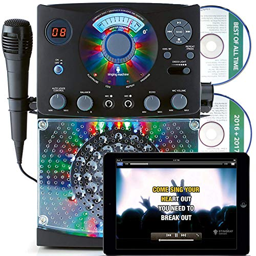 Singing Machine SML385 Karaoke Equipment with Bluetooth 1 Microphone and 36 Current Tracks, Black