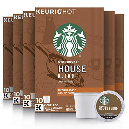 Starbucks Medium Roast K-Cup Coffee Pods — House Blend for Keurig Brewers, 10 Count (Pack of 6)