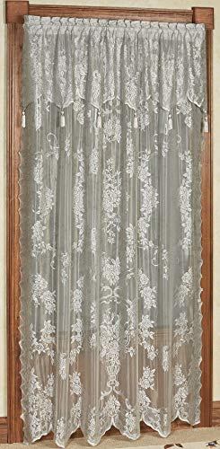 """Style Master Carly Lace 63"""" Long Curtain Panel with Attached Valance, Silver Gray"""