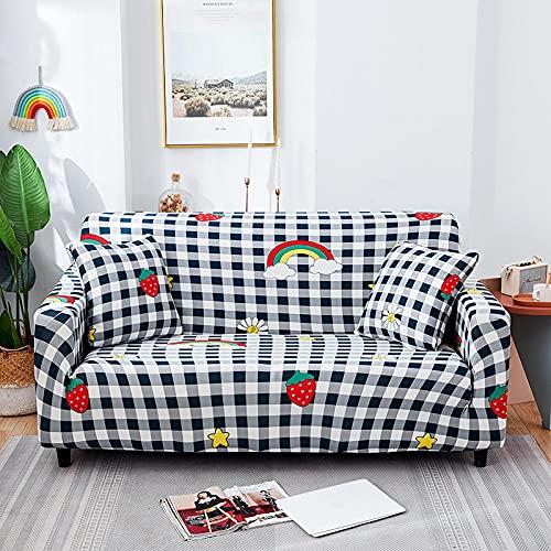 ASCV Elastic Corner Sofabezug Plaid Stretch Sofabezüge für Wohnzimmer Sessel Couch Schonbezug Protector A7 2-Sitzer