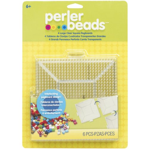 Perler Beads Large Square Pegboards for Kids Crafts, 4 pcs