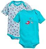 Schnizler Baby-Mädchen kurzarm, 2er Pack Vögelchen, Oeko-Tex Standard 100 Formender Body, Türkis (Türkis 15), 50 (Herstellergröße: 50/56)