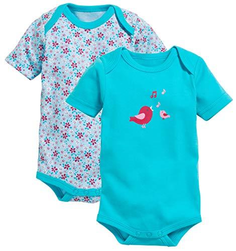 Schnizler Body 1/4-Arm 2er Pack Vögelchen, Turquoise (Turquoise 15), 1-2 Ans (Taille Fabricant:86/92) Mixte bébé