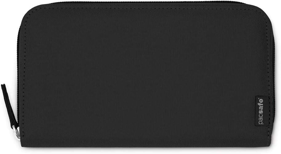 Pacsafe RFIDsafe LX250 Anti-Theft RFID Blocking Zippered Travel Wallet, Black