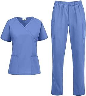 Women's Classic Scrub Set – Includes Medical Uniform Top and Pant (XS-3X, 14 Colors)