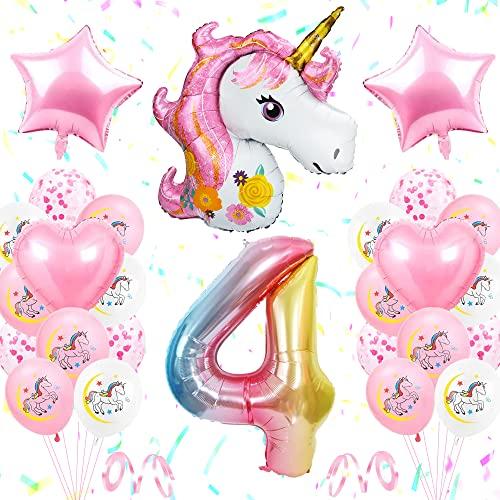 TOLOYE Unicornio Decoración de Cumpleaños 4 Años, Globo de Unicornio 3D con Pancarta de Cumpleaños Numero 4 Cumpleaños Globos Latex Globos para Decoracion de Fiesta de Cumpleaños Niña