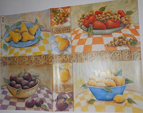 FINMARK Carta per DECOUPAGE Frutta 2 Fogli cm 50 x 70