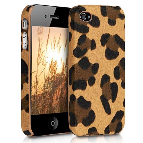 kwmobile Hülle kompatibel mit Apple iPhone 4 / 4S - Handy Case Handyhülle - Backcover Hardcover Cover Schutzhülle - Leopard Braun Schwarz Hellbraun