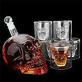 Krrinnhy 7 pz/Set di Cristallo Bar Set per Testa di Teschio Bottiglia di Vetro Whiskey Shot Bar Decanter con Tappo 6 Bicchieri da Whiskey