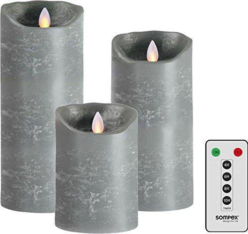 sompex 3er Set Flame LED Kerzen fernbedienbar, grau, 12,5cm, 18cm, 23cm mit Fernbedienung