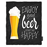 Moslion Beer Throw Blanket Word Enjoy Good Beer and Be Happy Bubble Throw Blanket Flannel Home Decorative Soft Cozy Blankets 40x50 Inch for Pet Black Yellow