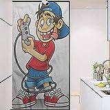 Wonderr Static Cling - calcomanía decorativo para ventana de vidrio teñido, diseño de jugador de dibujos animados de niños locos de ojos divertidos, para el baño, decoración de inodoro, 17,7 x...