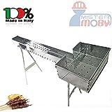 Mistermoby Barbecue Fornacella Inox 120 Cm Cuoci Arrosticini Spiedini e Testa 27X37 Cm Per Accensione Carbone e Grigliate