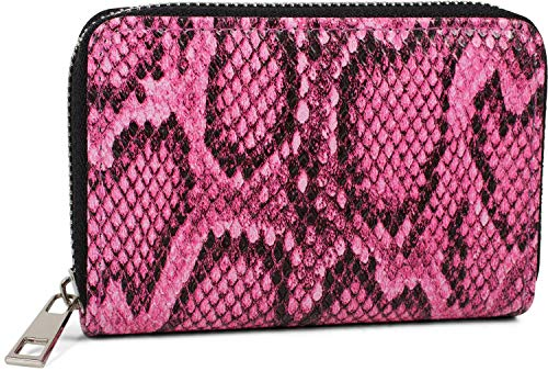 styleBREAKER Damen Mini Geldbörse mit Schlangen Muster, Reißverschluss, Portemonnaie 02040127, Farbe:Pink