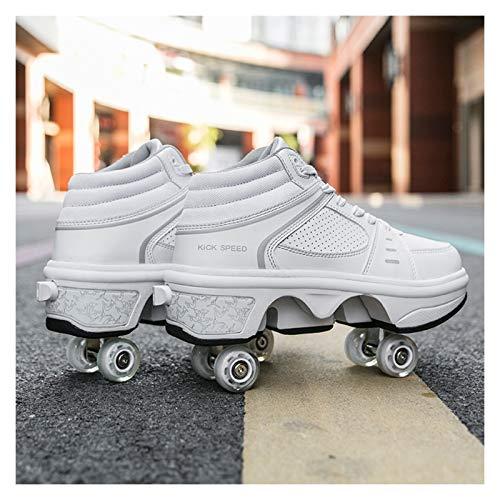 Deformación Parkour Shoes Zapatos Patines de Rodillos Zapatos Unisex Deformación Zapatos de Rodillo Zapatos de Patinaje Cuatro Ruedas Rondas de Zapatillas para Correr (Shoe Size : 36)