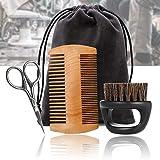 Envisioni – Juego de cepillo y peine para barba, juego de cuidado de la barba, tijeras de peluquería para peinado, moldeado y crecimiento