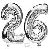 SNOWZAN Ballon gonflable 26e anniversaire pour fille garçon chiffre 26 géant Ballon gonflable à l'hélium numéro 26 Grand chiffre 26 ans XXL 26 ans Happy Birthday 32 pouces géant chiffre 26anniversaire