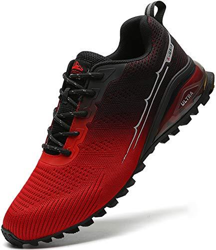 MARDICATO Herren Sportschuhe Cushion Schuhe Laufschuhe Straßenlaufschuhe Atmungsaktiv Walkingschuhe Outdoor Fitness Jogging Schuhe EU41-50 (49,Rot)