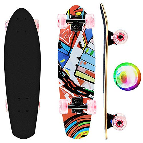 27 Inch Longboard Mini Cruiser Skateboard 7 Layer Maple Board Complete Skateboard with Colorful LED Light Up Wheels for Beginners