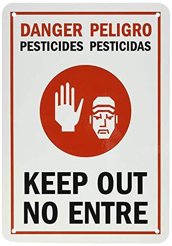 qidushop Wandschmuck Schild Pestizide Keep Out Zweisprachige Schwarz Rot auf weiß Funny Home Schild Frauen 18x 25cm