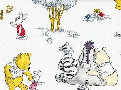 """1Yard–Winnie the Pooh """"un togetherish tipo de día"""" sobre blanco algodón tela–Producto oficial con licencia (ideal para acolchar, costura, manualidades, colcha, manta almohadas y más) 1yarda x 44"""