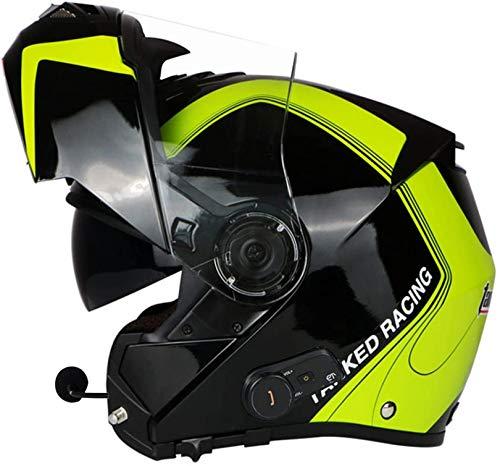 Casco modular integrado con Bluetooth, para motocicleta, certificado DOT, doble visera, cascos modulares de cara completa, micrófono integrado Bluetooth para respuesta automática D, L = 58-60 cm