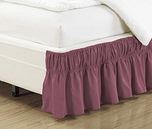 Bettvolant, 38,1 cm, fliederfarben/violett, gerüscht, elastisch, einfarbig, passend für alle Twin- und Full-Size-Betten, hohe Fadenzahl, Mikrofaser, Staub-Rüschen, weich und knitterfrei.