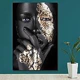 KWzEQ Modèle féminin Noir Moderne sur Affiche d'art Mural en Toile et Salon décoration,Peinture sans Cadre,60x90cm