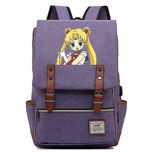 Sailor Moon Mochila Escolar para Estudiantes,con Puerto De Carga USB