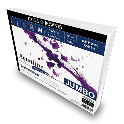 Daler Rowney - Jumbo Aquafine Textured Watercolour Sketchbook - 300gsm - 50 Pages - A4 Landscape - Made in England