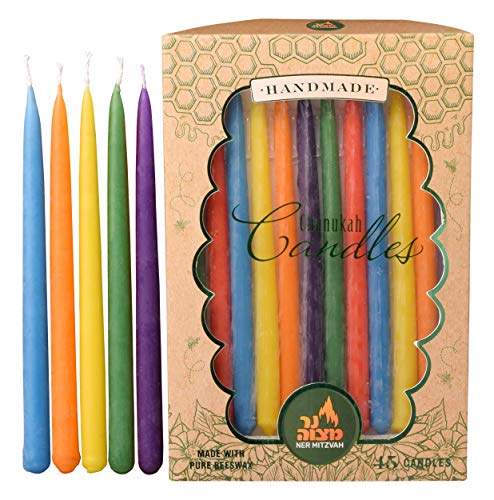 Ner Mitzvah Beeswax Hanukkah Candles - Multi Colored Dripless Chanukah Candle - Premium Quality Pure Beeswax - 45pk. for All 8 Nights of Hanukkah