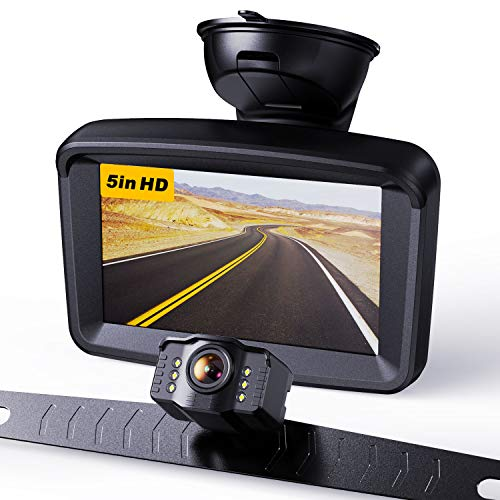 "Xroose Backup Camera with 5"" Monitor License Plate Mounted Back up Rearview HD Camera Night Vision + Rear View 720P Backing Up Monitor Safety Reversing for Car Pickup Truck Van Sedan SUV (Wired-S3)"