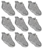 Zaples Baby Non Slip Grip Ankle Socks with Non Skid Soles for Infants Toddlers Kids Boys Girls, Gray, 12-36 Months