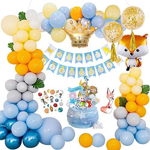 Yansion Geburtstagsdeko Jungen, Geburtstags Luftballons Happy Birthday Girlande mit Fuchs Krone Ballons Kuchenaufsätze und Tortendeko für Taufe Junge 1. Kindergeburtstag Dusche Party