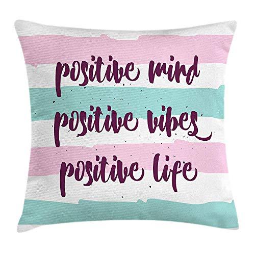 wwoman Funda de cojín con frase «Positive Mind Positive Life Positive Positive Vibes Frase en rayas pastel, funda de almohada decorativa cuadrada de espuma de mar rosa bebé y ciruela 45 x 45 cm