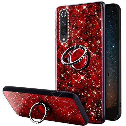 Compatible avec Xiaomi Mi 9 SE Coque Glitter Brillante Strass Marbre Motif Silicone Gel TPU Antichoc Housse Etui avec Bling Diamant Support de Bague Bumper Case pour Xiaomi Mi 9 SE,Rouge