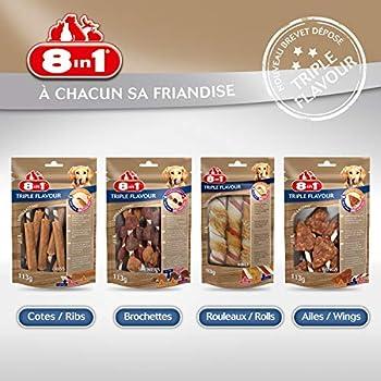 8in1 Triple Flavour Ribs – Côtes à Mâcher pour Chien adulte – Plus de viande, plus de durée de mâche - Limite le Tartre - Sans OGM, Conservateur Artificiel