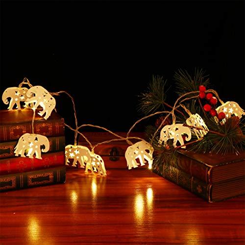 OSALADI LED Elephant String Light Battery Operated Fairy Lights Kid Bedroom String Lights Iron Decor Light Birthday Party Decor for Nursery Kindergarten (Warm White Light)