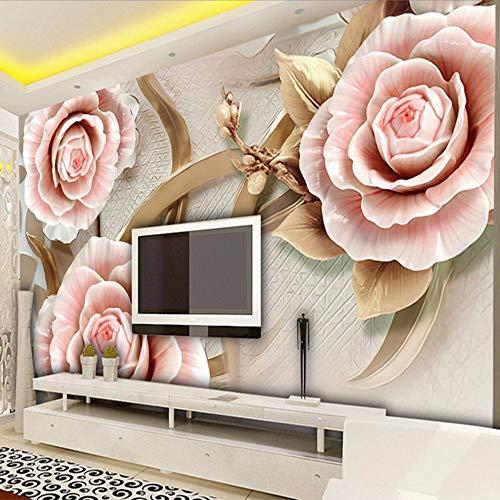 Xzfddn Personalizado Mural Papel de pared Clásico 3D en relieve Flores de rosa Foto Murales de pared Sala Tv Sofá Telón de Fondo Fondo Fondo de Escritorio para Paredes 3D