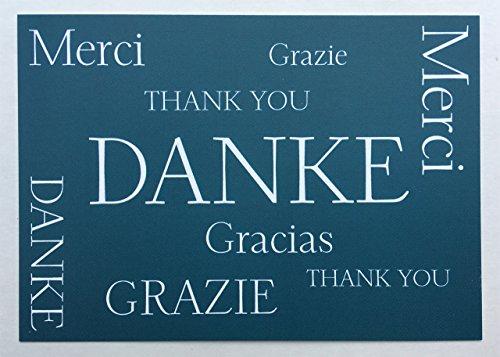 Postkarte Danke international Thank you Merci Gracias Grazie