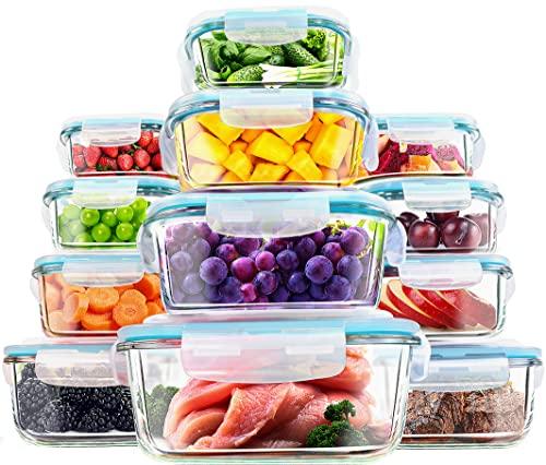 KICHLY - Contenitori per alimenti in vetro - 12 pezzi (6 contenitori con 6 coperchi di chiusura) - lavabile in lavastoviglie, Microonde, Congelatore Friendly - senza BPA - Approvato dalla FDA e FSC
