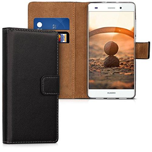 kwmobile Huawei P8 Lite (2015) Hülle - Kunstleder Wallet Case für Huawei P8 Lite (2015) mit Kartenfächern und Stand - Schwarz