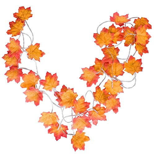 HIGHEVER Fall Decor, Fall Lights Decoraions Harvest Decor, 2 Pack 20 LED 10 Feet Thanksgiving Christmas Decor Lighted Fall Garland, Battery Powered Maple Leaf String Lights