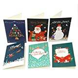 Merry Christmas Greeting Cards with Envelopes and Stickers, 6 Christmas Designs,Set of 24 Special Holiday Greeting Cards and Envelopes.