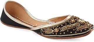 "Unze Women ""GINA"" Girls Wedding Pearls Flats Stone Indian Sari Bridal Khussa UK Size 3-8 - WS-89"