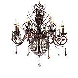 ZAKRLYB Creativa 8-Cabeza de lujo de vela de cristal de modelado E14 de la lámpara pendiente de la lámpara retro iluminación de la lámpara colgante de la personalidad luces de techo de Hierro Metal re