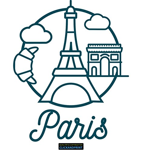 CLICKANDPRINT Aufkleber » Paris, 130x106,0cm, Metallic Teal • Dekoaufkleber / Autoaufkleber / Sticker / Decal / Vinyl