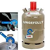 11 kg Camping Gas-Flasche Neu Propangas Grill Gaskocher Heizer inkl. Gasregler-Schlüssel mit Magnet